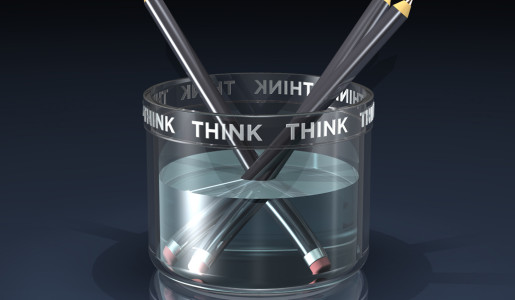 3d illustration of three large pencils floating in a transparent think tank filled with a transparent liquid